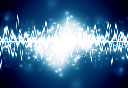 bright sound wave on a dark blue background Stock Photo - 22574722