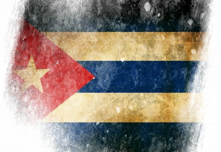Cuban flag  with some grunge effects and lines photo