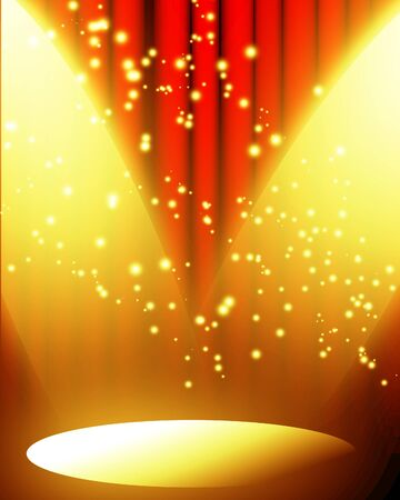 hollywood stars: red movie or theater curtain with a bright spotlight with glitters and sparkles