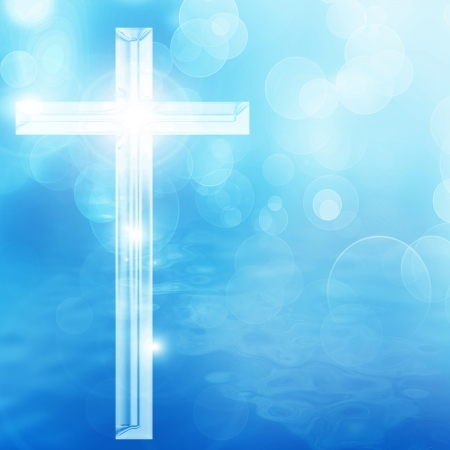 baptist: christian cross on a soft blue background