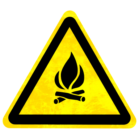 isolation: yellow fire sign isolated on a solid white background