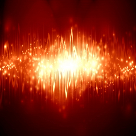 bright sound wave on a soft red background