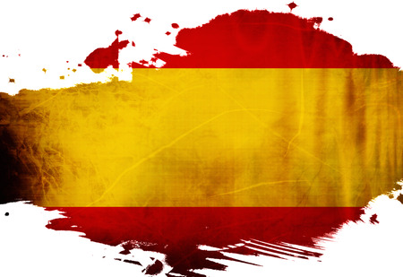 Spanish flag  with some grunge effects and lines photo