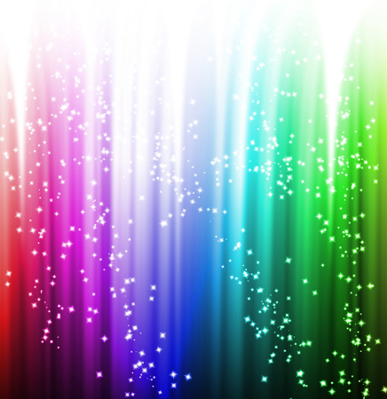 rainbow color star: theatre or movie curtain with some dark shades on it Stock Photo