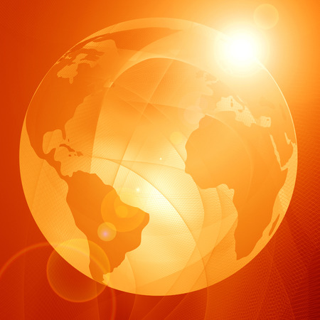 planet earth on a soft orange background photo