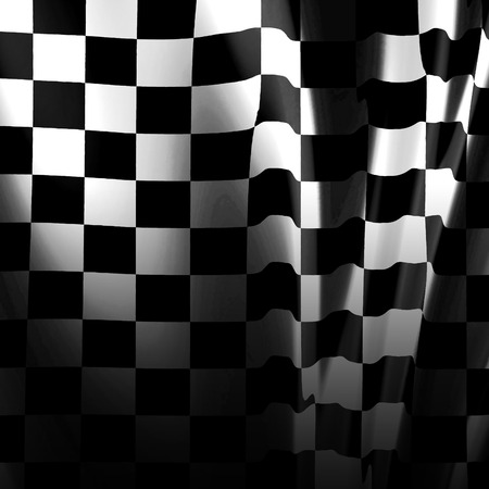 formula one car: black and white racing flag with some smooth folds in it