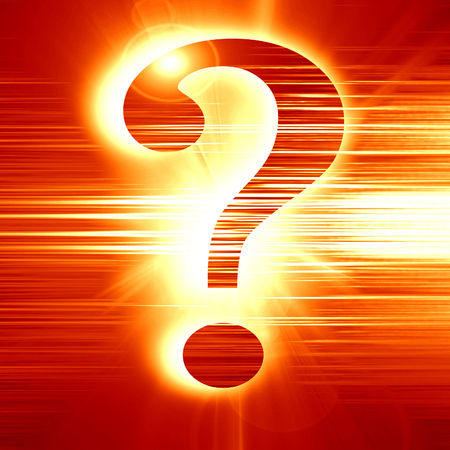 unsolvable: question mark on a glowing red background Stock Photo