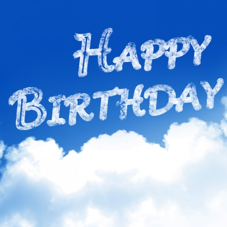 greet card: clouds in a blue sky with the words happy birthday