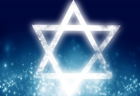 star of david on a blue background Imagens