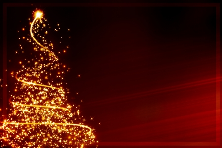 xmas greeting card: abstract christmas tree formed by blurred lights Stockfoto