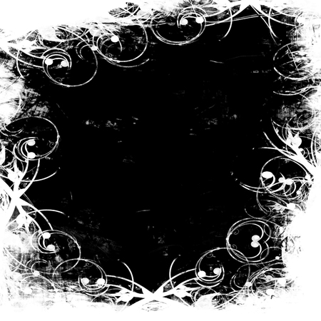 backdop: grunge black and white frame with some spots and stains on it
