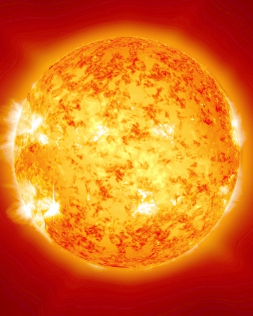 burning and fiery sun in outer space with some solar activity Stock Photo