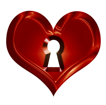wax heart with keyhole on a solid white background photo