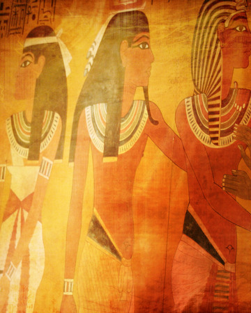 egyptian wall paintings inside of the pyramids (replica) Stock Photo - 22619524