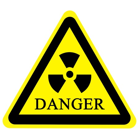 radioisotope: yellow nuclear sign isolated on a solid white background