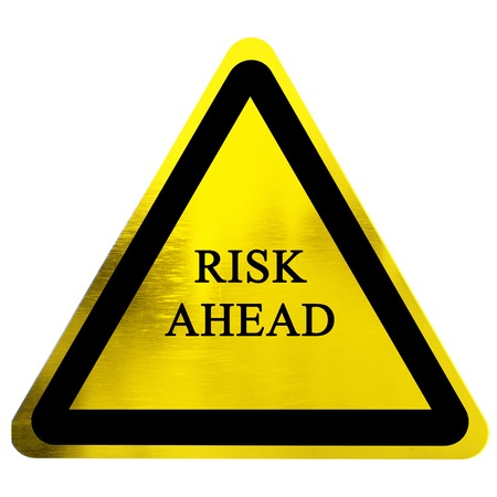 risk management: risk ahead sign isolated on a solid white background Stock Photo