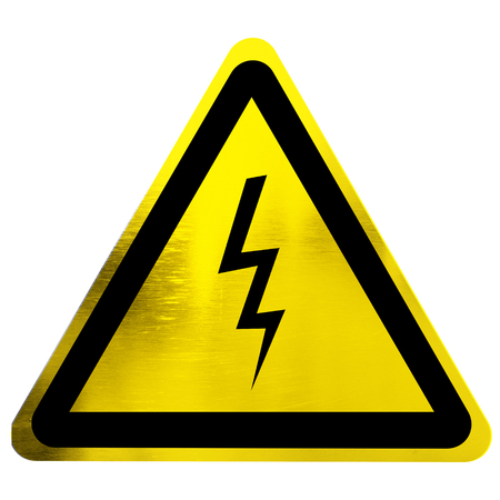 high voltage danger sign isolated on a solid white background Stock Photo - 22619607