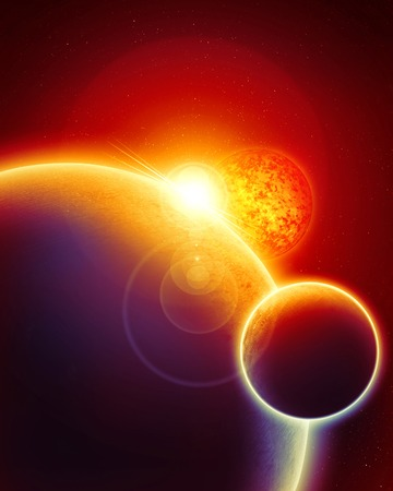 sunrise or sunset on a planet in deep outer space
