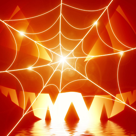 halloween background: glowing spider web and orange pumpkin photo