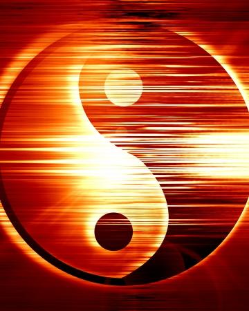 yin yang teken op een levendige rode achtergrond Stockfoto