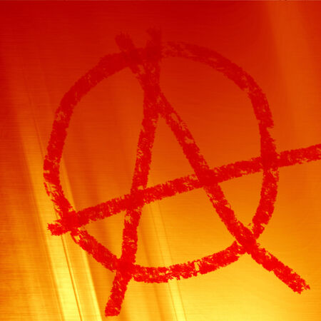 vandal: anarchy symbol on a soft red fire background