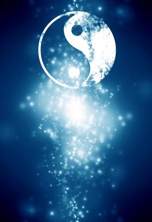 陰陽サインオン暗い青色の背景