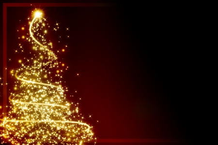 xmas greeting card with a christmas tree and some sparkles