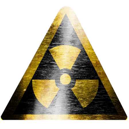 radioisotope: black and yellow nuclear sign isolated on a white background Stock Photo