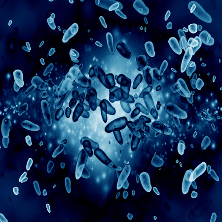 some bacteria on a dark blue background photo