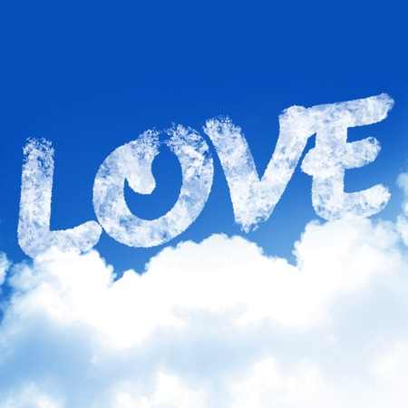 love is in the air (with clouds and blue background) photo