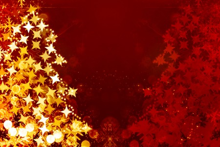 xmas greeting card: abstract christmas tree formed by blurred lights Stock Photo