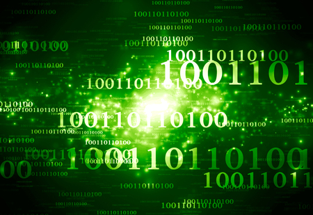 bytes: fresh green background with some technology elements on it Stock Photo