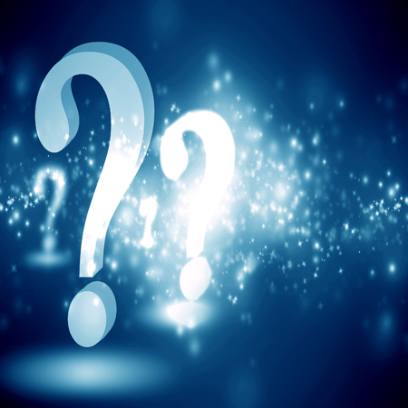 think tank: question mark on a glowing blue background Stock Photo