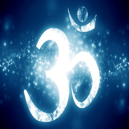 om aum symbol on a blue background with some glitters and sparkles