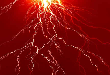 bright electrical spark on a dark red background Stock Photo