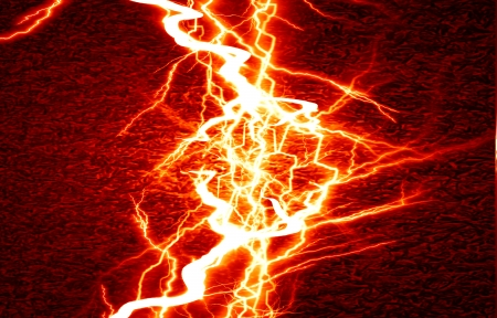discharges: bright electrical spark on a dark red background Stock Photo