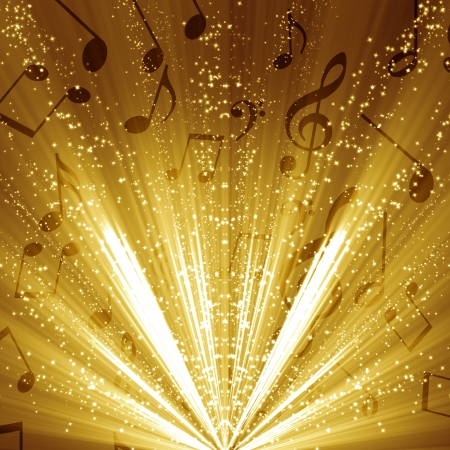 concert lights: music notes on a soft golden glittering background Stock Photo