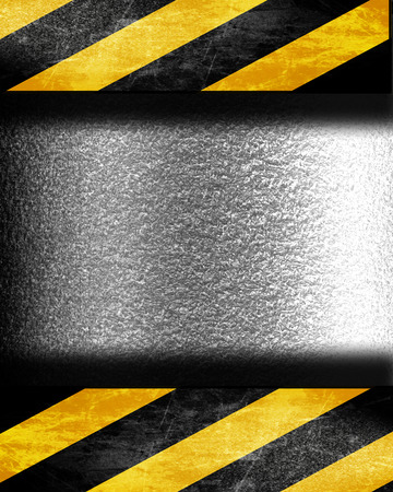 hazard stripes: old construction sign with black and yellow stripes Stock Photo