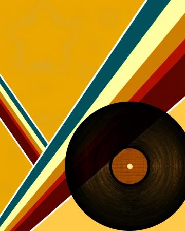 黒のビニール レコードのクローズ アップ