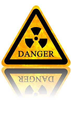 yellow nuclear sign isolated on a solid white background Stock Photo - 22999958