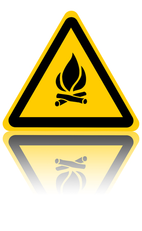 yellow fire sign isolated on a solid white background photo