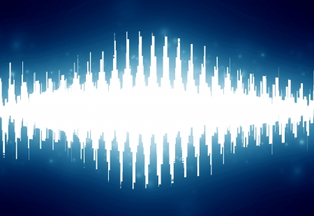 bright sound wave on a dark blue background photo