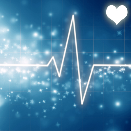 heartbeat on the display of a clinic monitor on a blue background Stock Photo