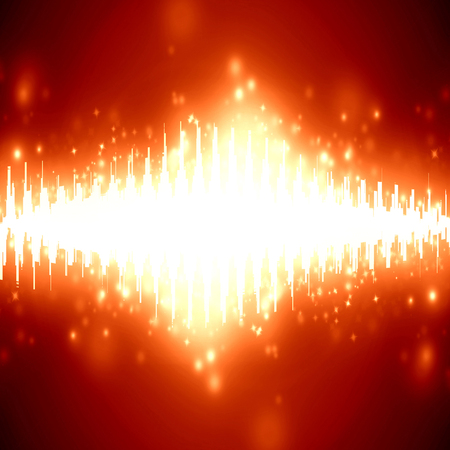 bright sound wave on a soft red background Stock Photo - 22999969
