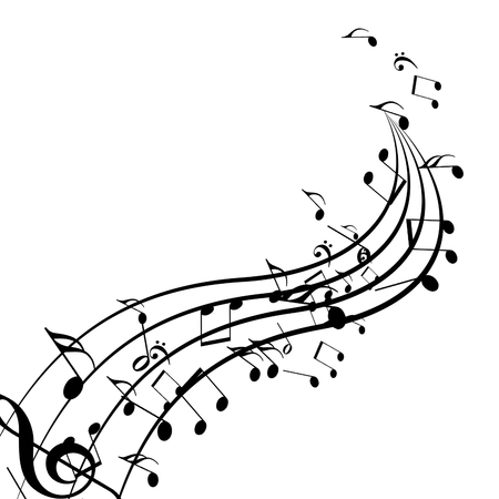 twirling: black music notes isolated on a solid white background Stock Photo
