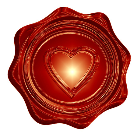 red wax seal with a heart shape on it photo