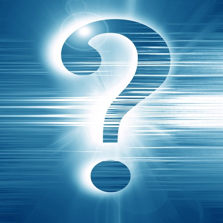 unsolvable: question mark on a glowing blue background Stock Photo