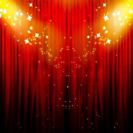 red movie or theater curtains with a bright spotlight on it Stockfoto
