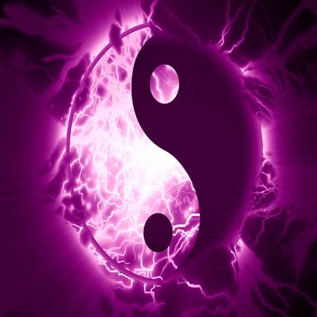 yin yang sign on a vivid background photo