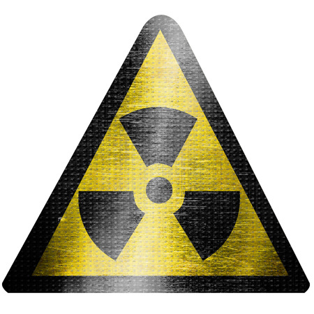 black and yellow nuclear sign isolated on a white background photo